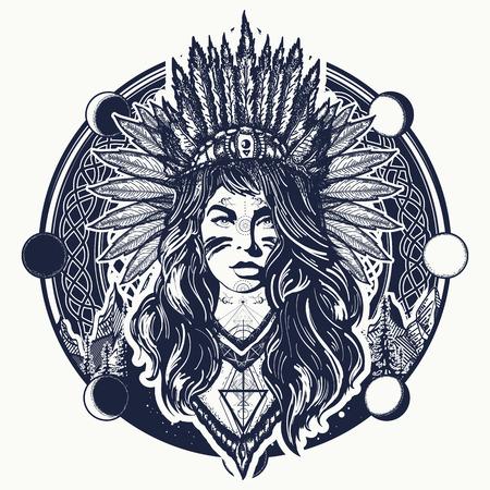 Indiaanse vrouw tattoo art. Stock Illustratie