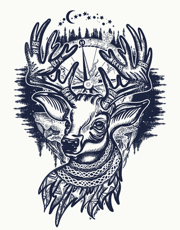 Deer and winter forest tattoo and t-shirt design.