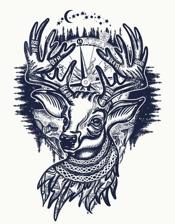 Hert en winter bos tattoo en t-shirt design.