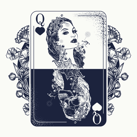 Beautiful girl and queen skeleton. Stock Illustratie