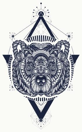 Bear sacred geometry tattoo and t-shirt design. Vettoriali