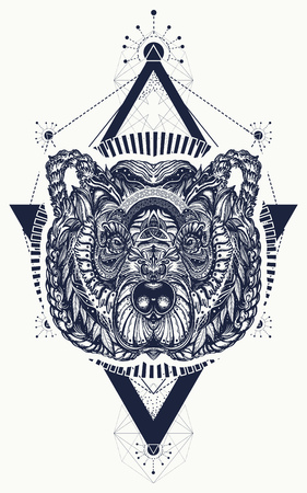 Bear sacred geometry tattoo and t-shirt design. Vectores