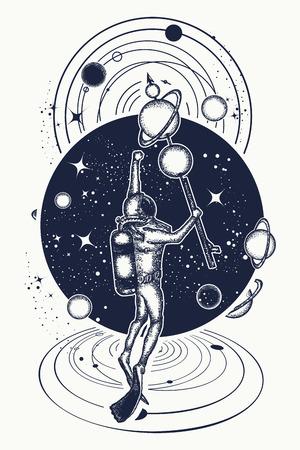깊은 우주와 우주에서 우주 비행사 티셔츠 디자인.