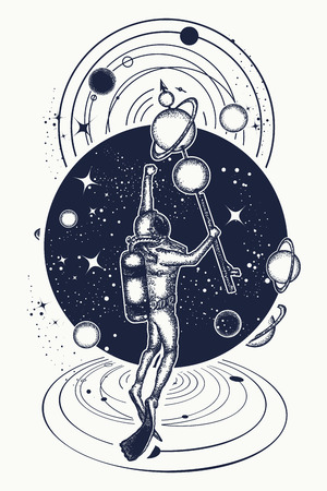 Astronaut in deep space and universe t-shirt design. Vettoriali