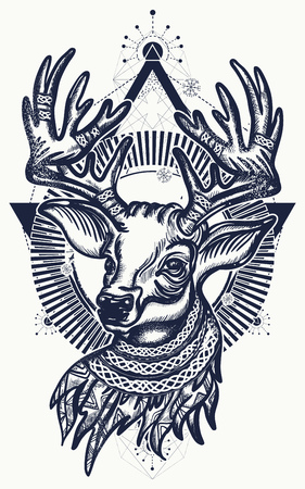 Beautiful reindeer portrait tattoo art.