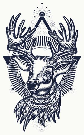Beautiful reindeer portrait tattoo art.