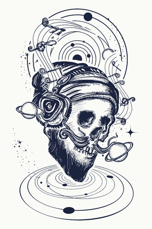 Human skull and universe tattoo and t-shirt design. Skull of the bearded hipster in earphone listens to music. Skull with beard, mustache, hipster hat and headphones tattoo.