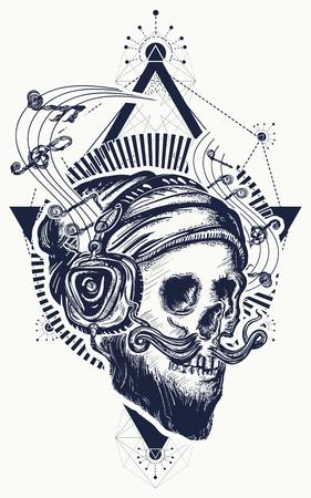 Human skull sacred geometry tattoo and t-shirt design.