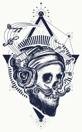 Human skull sacred geometry tattoo and t-shirt design.