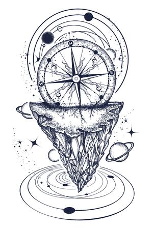 Conception de tatouage et de t-shirt de montagnes et d'univers. Tatouage pour les voyageurs, les alpinistes, les randonneurs conception de t-shirt. Ancienne boussole et rose des vents. Banque d'images - 90457128