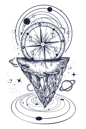 Mountains and universe tattoo and t-shirt design. Tattoo for travelers, climbers, hikers t-shirt design. Mountain antique compass and wind rose. Ilustração