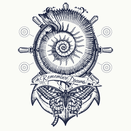 Sea shell, anchor, steering wheel, butterfly, tattoo art. Vintage anchor and steering wheel t-shirt design. Symbol of freedom, marine adventure tourism.
