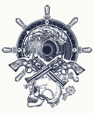 Old skull pirate steering wheel crossed revolvers t-shirt design. Pirate, crossed guns, skull, sea waves tattoo art. Illustration
