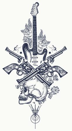 인간의 두개골 및 일렉트릭 기타, 리볼버, 장미 및 음악 노트 문신 및 t- 셔츠 디자인. 로큰롤 티셔츠 디자인. 록 음악, 뮤지컬 페스티벌의 상징. 일렉트
