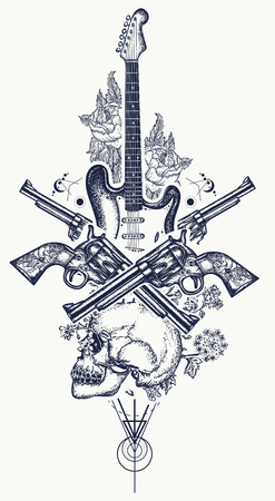 Human skull and electric guitar, revolver, roses and music notes tattoo and t-shirt design. Rock and roll t-shirt design. Symbol of rock music, musical festivals. Electric guitar tattoo art print.