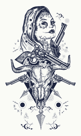Mexican criminal tattoo and t-shirt design. Wild west woman, bull skull, revolvers, crossed arrows tattoo. Santa muerte girl. Santa Muerte Mexican woman, old revolvers, crime scene.