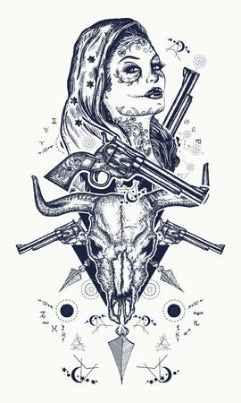 Tatuaggio criminale messicano e design t-shirt. Donna del selvaggio west, teschio di toro, revolver, tatuaggio di frecce incrociate. Ragazza di santa muerte. Santa Muerte donna messicana, vecchi revolver, scena del crimine. Archivio Fotografico - 90457134