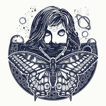 空間のタトゥー アートの女性。  イラスト・ベクター素材