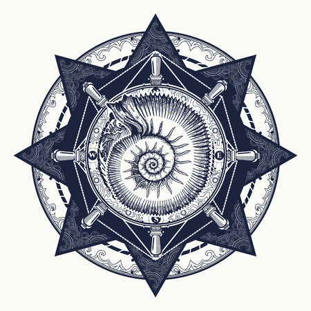 Symbool van een storm en rust, stilte en geluid. Alchemie, middeleeuwse religie, occultisme-tatoeage. Zeegolf storm en oude tattoo en t-shirt design. Ocean wave art.