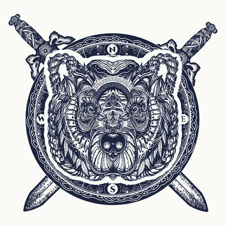 Diseño de tatuaje de oso y espadas cruzadas y camiseta. Oso grizzly del norte, símbolo de la fuerza, naturaleza salvaje, al aire libre. Ilustración de vector