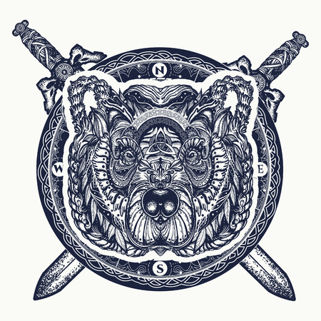 Bear and crossed swords tattoo and t-shirt design. Northern grizzly bear, symbol of force, wild nature, outdoors.
