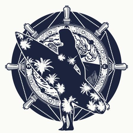 Surfing tattoo and t-shirt design. Illustration