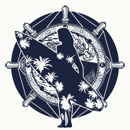 Surfing tattoo and t-shirt design. Vettoriali