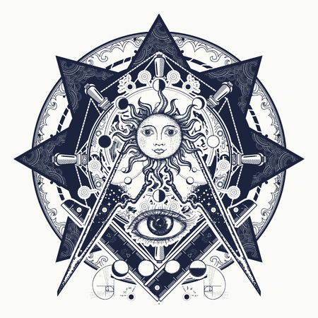 All seeing eye. Alchemy, medieval religion, occultism, spirituality and esoteric tattoo. Magic eye t-shirt design. Mysteries of knowledge of mankind. Masonic symbol tattoo and t-shirt design. 版權商用圖片 - 90457138