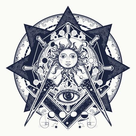 Alles sehende Auge. Alchemie, mittelalterliche Religion, Okkultismus, Spiritualität und esoterische Tätowierung. Magischer Blick T-Shirt Design. Mysterien des Wissens der Menschheit. Freimaurersymbol-Tätowierung und T-Shirt Design.