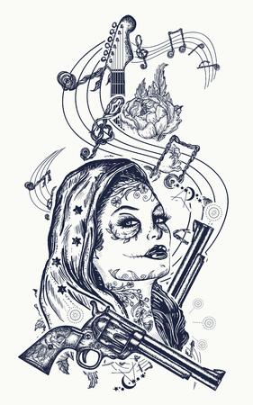 산타 Muerte 소녀와 일렉트릭 기타, 장미 및 음악 노트 귀영 나팔. 록 음악, 뮤지컬 페스티벌의 상징. 일렉트릭 기타 문신 예술
