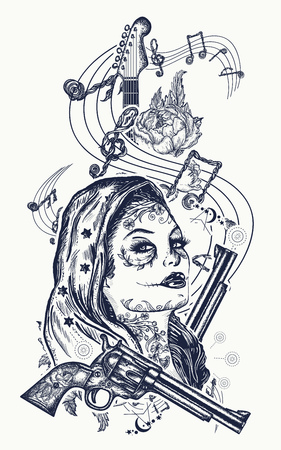 Santa Muerte girl and electric guitar, roses and music notes tattoo. Symbol of rock music, musical festivals. Electric guitar tattoo art