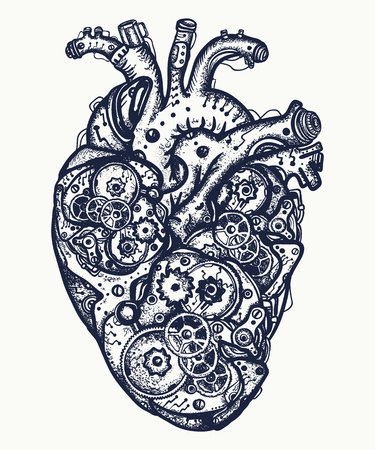 Mechanical heart tattoo. Symbol of emotions, love, feeling. Anatomic mechanical heart steam punk t-shirt design Çizim