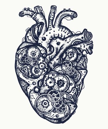 Mechanical heart tattoo. Symbol of emotions, love, feeling. Anatomic mechanical heart steam punk t-shirt design Vectores