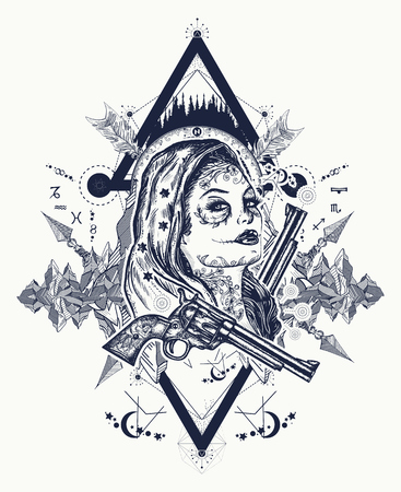 Mexican criminal tattoo art and t-shirt design. Wild west woman and mountains tattoo. Santa Muerte girl. Sugar skull. Santa Muerte Mexican woman, old revolvers, crime scene
