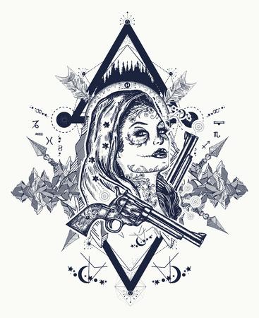 メキシコの刑事入れ墨アート、t シャツ デザイン。野生の西の女性と山のタトゥー。サンタムエルテ女の子。砂糖の頭蓋骨。サンタ ムエルテ メキシ