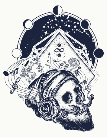 Human skull and universe tattoo and t-shirt design. Skull with beard, mustache, hipster hat and headphones tattoo. Skull of the bearded hipster in earphone listens to music Vettoriali