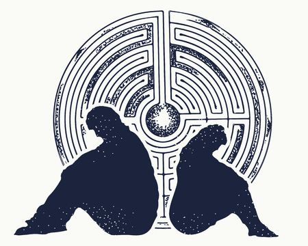 Problems of man and woman. Family conflicts. Quarrel, depression, divorce. Labyrinth of problems. Psychological illustration