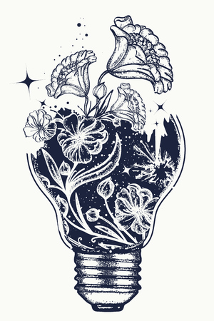 Light bulb tattoo and art Nouveau flowers t-shirt design. Symbol of the idea, creativity, creative, imagination, freedom. Tattoo light bulb