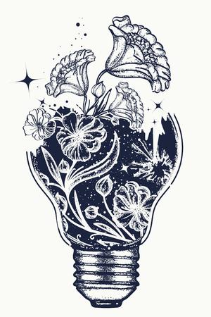 T-shirtontwerp met gloeilampentattoo en art nouveau-bloemen. Symbool van het idee, creativiteit, creatief, verbeelding, vrijheid. Tattoo gloeilamp