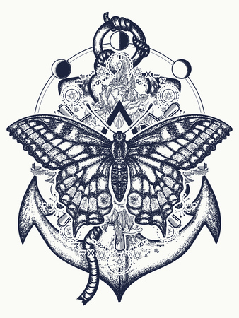 Anchor, roses flowers and butterfly, tattoo art. Symbol of freedom, marine adventure tourism. Slogan follow dreams. Vintage anchor and butterfly t-shirt design Ilustração