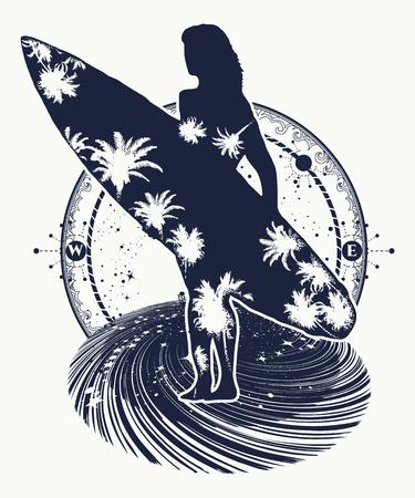 스페이스 서핑 스포츠 문신과 티셔츠 디자인. 서핑 보드와 함께 아름 다운 소녀입니다. 바다 파도, 열 대 지방, 낙원에 운전하는 극단적 인 스포츠의 상