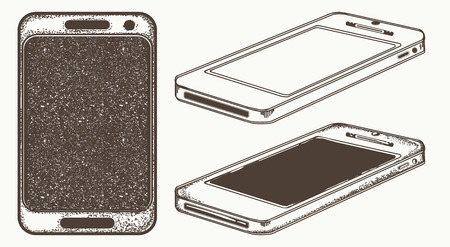 Mobile phone hand drawn vector. Modern smartphone mock up Vectores