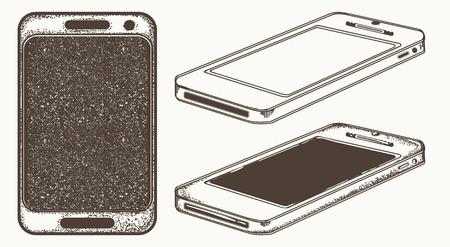 Mobile phone hand drawn vector. Modern smartphone mock up Vettoriali