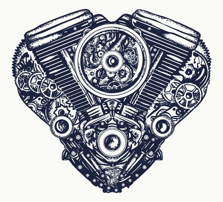 技術的に機械的な心臓の入れ墨。心臓爆発エンジンTシャツデザイン  イラスト・ベクター素材