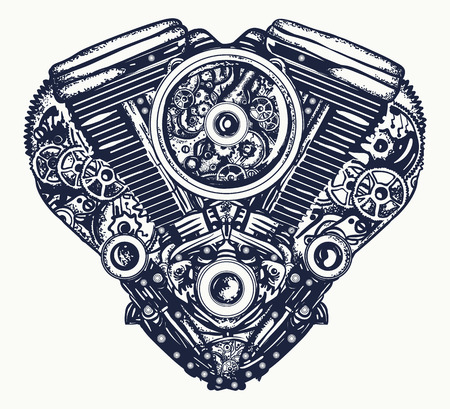 Technisch mechanische harttattoo. Hart explosie motor t-shirt design Stock Illustratie