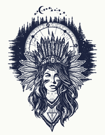Native American woman and compass tattoo art. Ethnic girl warrior. Young woman in costume of american indian and night forest t-shirt design Imagens - 92826702