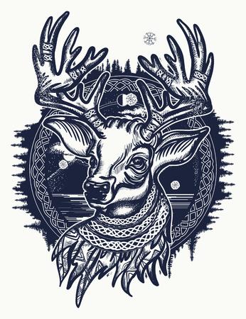 Kerst rendieren. Symbool van de winter, Nieuwjaar, Kerstmis. Mooie rendier portret tattoo kunst. Herten en bos tattoo en t-shirt design