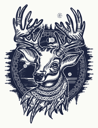 Christmas reindeer. Symbol of winter, new year, Christmas. Beautiful reindeer portrait tattoo art. Deer and forest tattoo and t-shirt design