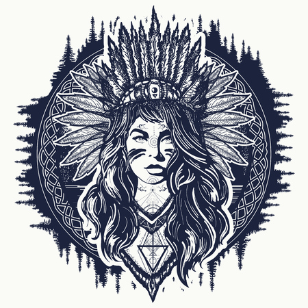 部族のインドの女性の入れ墨とTシャツのデザイン。ネイティブアメリカンの女性のタトゥーアート。民族の女の子の戦士。アメリカのインディアンベクトル民族芸術の衣装を着た若い女性