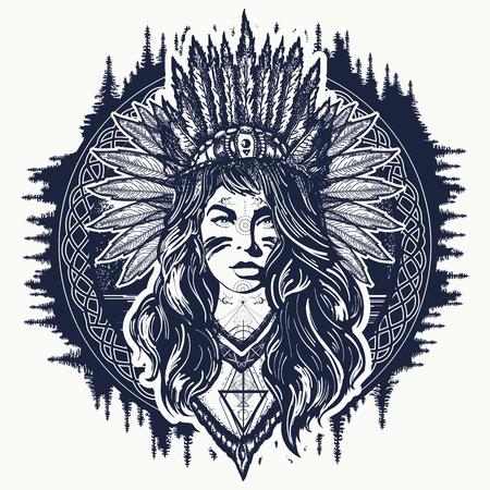 Tatuaggio tribale indiano donna e design t-shirt. Arte del tatuaggio donna nativa americana. Ragazza etnica guerriera. Giovane donna in costume di arte etnica americana indiana vettoriale